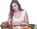 Woman cooking healthy food smiling isolated Stock Photography