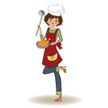 Woman cooking illustration in vector Royalty Free Stock Photos