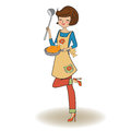 Woman cooking illustration in vector Royalty Free Stock Images