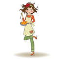 Woman cooking illustration in vector Stock Photos