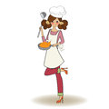 Woman cooking illustration in vector Royalty Free Stock Photo