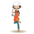 Woman cooking illustration in vector Royalty Free Stock Photography