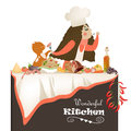 Woman cooking in the kitchen vector illustration of Stock Photos
