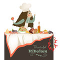 Woman cooking in the kitchen vector illustration of Royalty Free Stock Photos