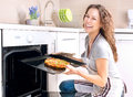 Woman Cooking Pizza Royalty Free Stock Image