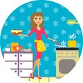Woman cooks in kitchen or cuisine and women vector illustration Royalty Free Stock Photography