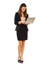 Woman in copyspace using laptop portrait of a young professional a Royalty Free Stock Photos