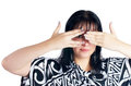 Woman covering eyes Royalty Free Stock Photography