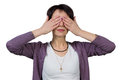 Woman covering her eyes with her hands isolated photo portrait Royalty Free Stock Photography