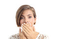 Woman covering her mouth because bad breath isolated on a white background Royalty Free Stock Photography