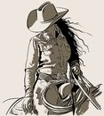Woman with a cowboy hat. Cowboy girl riding horse with lasso. Hand drawn vector illustration. Royalty Free Stock Photo