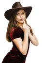 Woman in a cowboy hat young beautiful Royalty Free Stock Photos