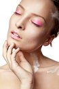 Woman with creative make up and white paint beautyful on body isolated Stock Image