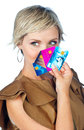 Woman with credit cards attractive collection of Royalty Free Stock Photos