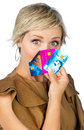 Woman with credit cards attractive collection of making expression Stock Photos