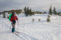 A woman cross country skiing in the mountain Royalty Free Stock Photo