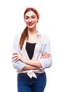 Woman crossed arms standing against white. Royalty Free Stock Photo