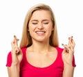 Žena přechod prsty přes bílý