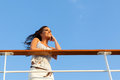 Woman cruise daydreaming attractive on Royalty Free Stock Images