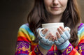 Woman with cup holding white of tea in her hands Royalty Free Stock Photos