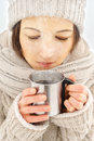 Woman with cup of hot coffee Royalty Free Stock Photo