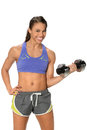 Woman curling dumbbell african american isolated over white background Royalty Free Stock Photos
