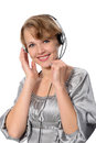 Woman customer service representative on a white background Royalty Free Stock Image