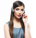 Woman customer service worker call center smiling operator with phone headset Royalty Free Stock Photography