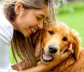 Woman with cute dog Royalty Free Stock Images