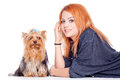 Woman with cute little yorkshire terrier Royalty Free Stock Images