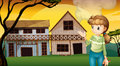A woman with a cutter standing in front of the houses illustration Royalty Free Stock Photo
