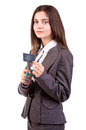 Woman cutting up her credit card Royalty Free Stock Photo