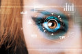 Woman with cyber technology eye panel concept future Royalty Free Stock Images