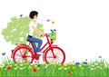 Woman cycling in countryside illustration of an attractive young the with colorful red yellow and blue flowers the meadow with Royalty Free Stock Photos