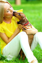 Woman dachshund in her arms Royalty Free Stock Images