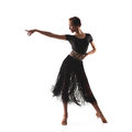 Woman dancer wearing black latina dress traditional isolated on white background Stock Image
