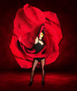 Woman Dancer Wearing Red Rose Dress Stock Photography