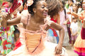 A woman dances dressed as a ballerina niteroi brazil may during street party celebrating the street band anniversary happily Royalty Free Stock Photography