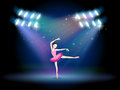 A woman dancing ballet with spotlights illustration of Stock Images