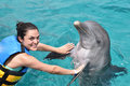 Woman dancing with dolphin Royalty Free Stock Photo
