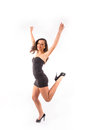 Woman dancing and junping Royalty Free Stock Photo