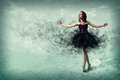 Woman dancing young for her abstract background Royalty Free Stock Images