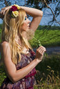 Woman with a dandelion Stock Photography