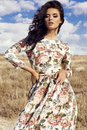 Woman with dark hair wears luxurious colorful dress posing in summer field Royalty Free Stock Photo