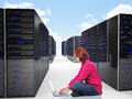Woman in datacenter Royalty Free Stock Image