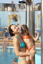 Woman with daughter are taking a shower Royalty Free Stock Photo