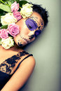 Woman in day of the dead mask portrait Royalty Free Stock Photo