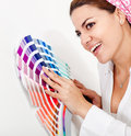 Woman decorating her house Stock Image