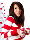 Woman decorating white christmas tree Stock Image
