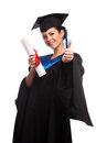 A woman with a degree in her hand as she looks at the camera isolated Royalty Free Stock Photos